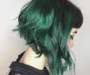 hair, girl, and verde image