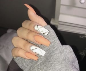 nails, marble, and orange image