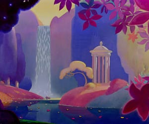 art work, color theory, and waterfall image