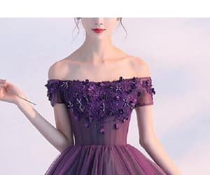 purple prom dress, short sleeve prom dress, and a-line prom dress image