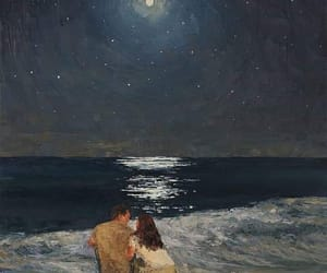 art, love, and moon image