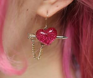 heart, pink, and earrings image