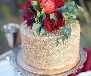 cake, pearls, and rose image