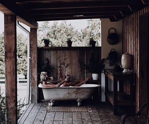 bath, cabin, and rustic image