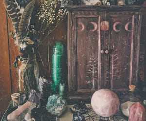 altar, crystals, and herbs image