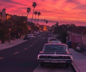 california, car, and pink image