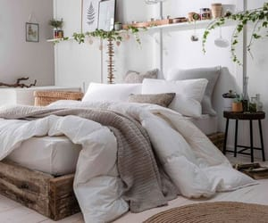 bed, bedroom, and plants image