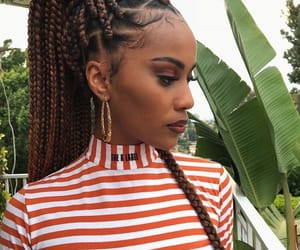 girls, braid, and brown image