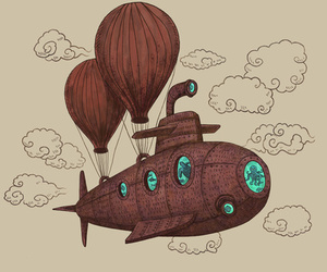 submarine, art, and illustration image