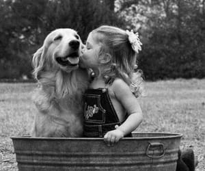 dog, kiss, and black and white image