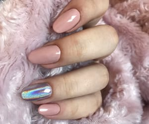 almond, holographic, and long nails image