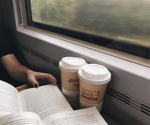 book, coffee, and travel image