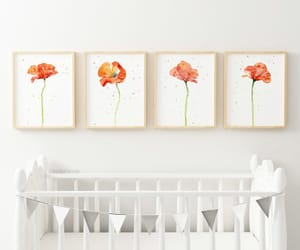 floral print, poppies, and poppy art image