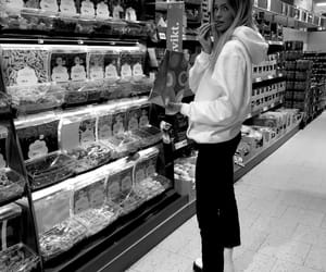 black & white, lollies, and supermarket image