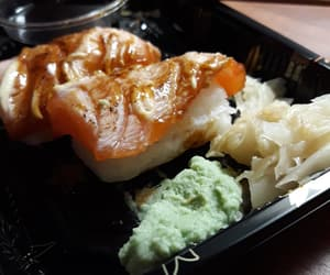 ginger, salmon, and sushi image