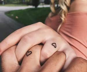 couples, heart, and tattos image