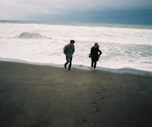 couple, beach, and sea image