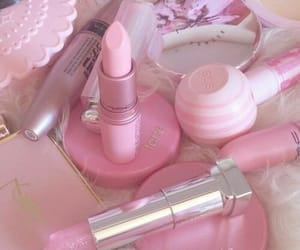 pink, makeup, and wallpaper image