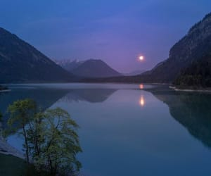 moon, mountain, and water image