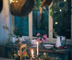 candle, plants, and witch image