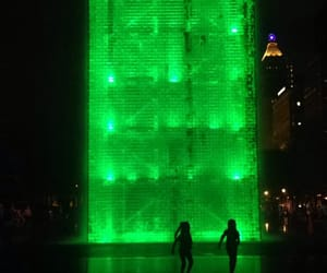 fountain, green, and nighttime image