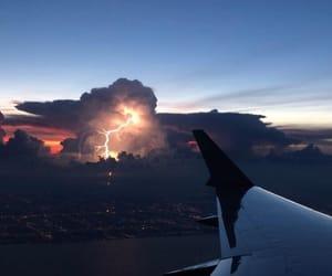 airplane, blue sky, and lightning image