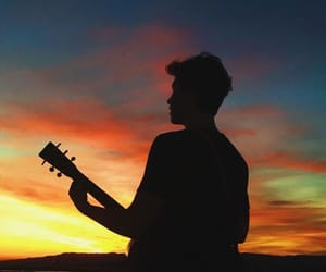 shawn mendes, sunset, and guitar image