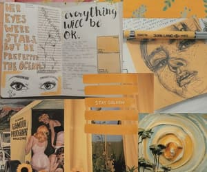 yellow, art, and Collage image
