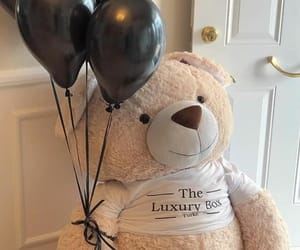 balloons, gifts, and teddy bear image