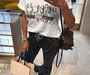 black white, gucci, and jeans image