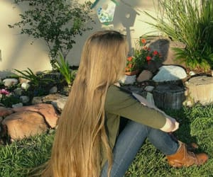 hair, garden, and girl image