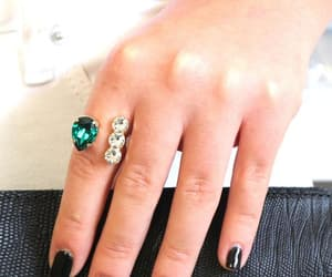 bridal, open ring, and green crystal ring image