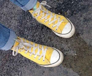 all star, jeans, and yellow image