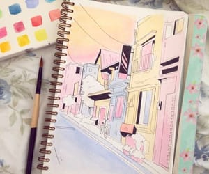 colors, drawing, and watercolors image