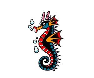 art, drawing, and seahorse image