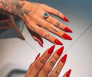 tattoo, nails, and red image