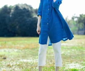 blue shirt, gown, and long shirt image