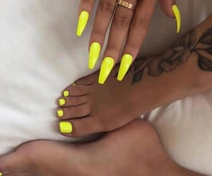 nails, yellow, and tattoo image