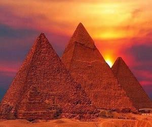 egypt, sunset, and pyramid image