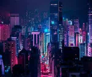 city, neon, and purple image