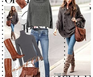 brown boots, cold days, and grey sweater image