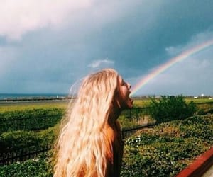 rainbow, girl, and blonde image