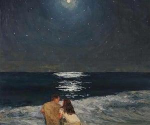 art, love, and moon image