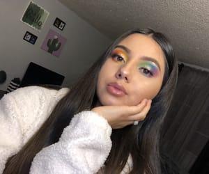 colorful makeup, makeup, and rainbow image