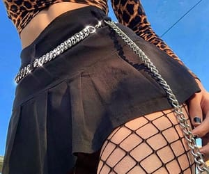 black, chain, and fishnets image