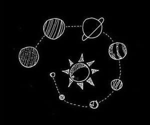 black, drawing, and planets image