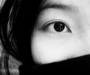 black and white, eyes, and korean beauty image