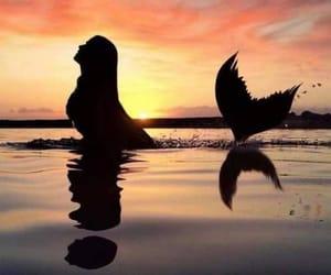 mermaid, sunset, and ocean image