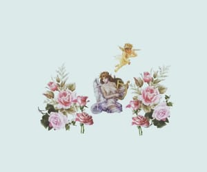 angel, background, and flowers image