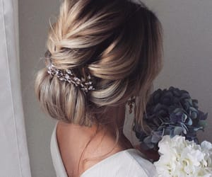 blonde, bride, and hairstyle image